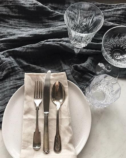 Open Weave Dark Grey Table Runner 1.3m Width x 2.5m Long