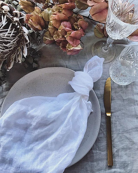 White Open Weave French Linen Napkins