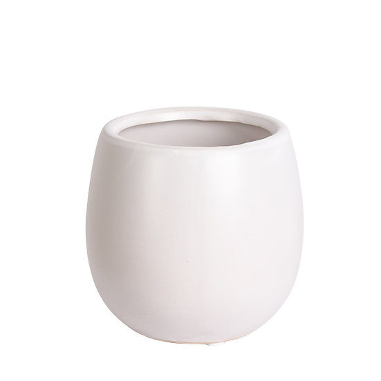 White ceramic vase short and round