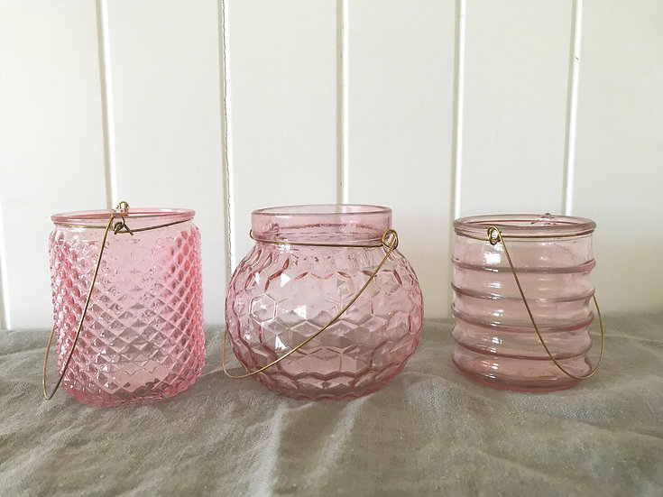 Pink Glass Lantern With Gold Handle