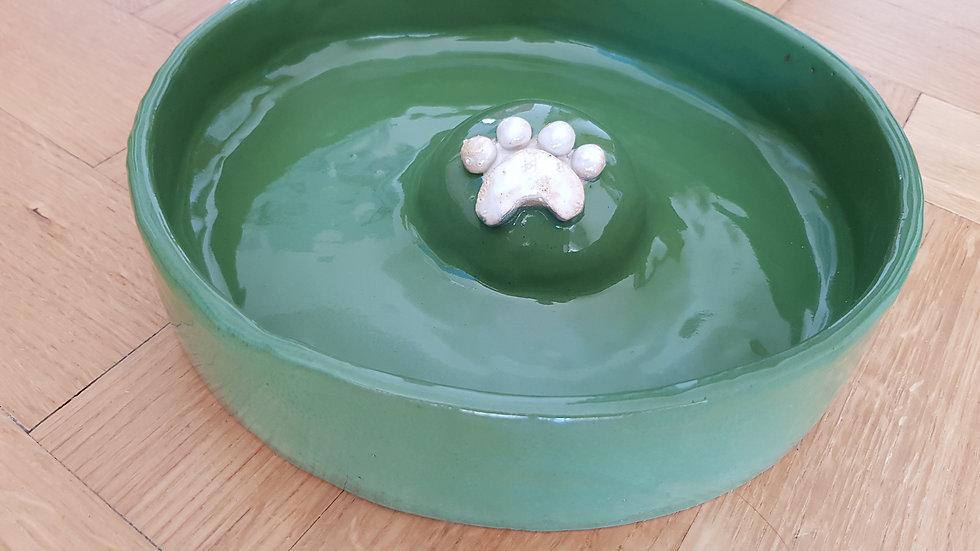 Katzen- / Kittennapf in dunkelgrün