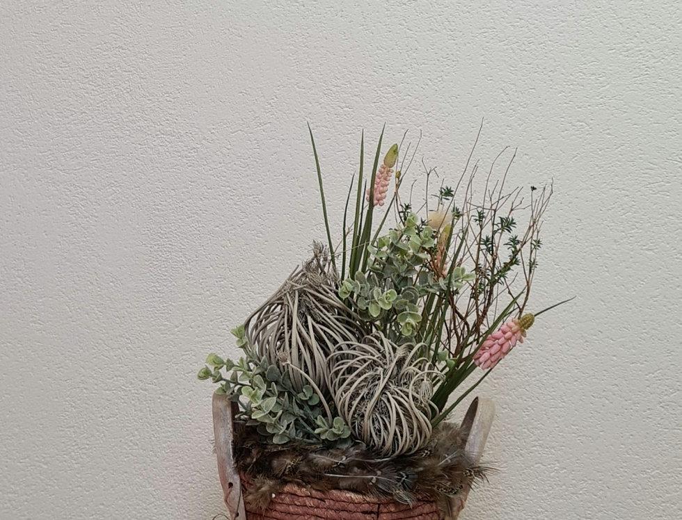 Frühlingsdeko Korb mit Seidenblumen