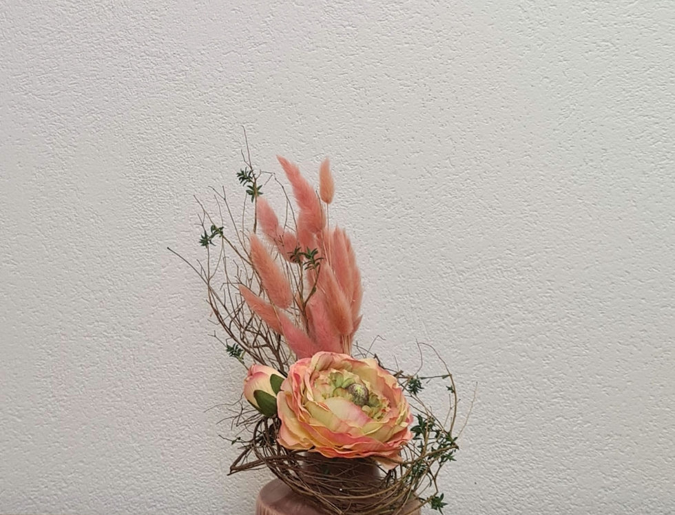 Frühlingsdeko Vase mit Seidenblumen