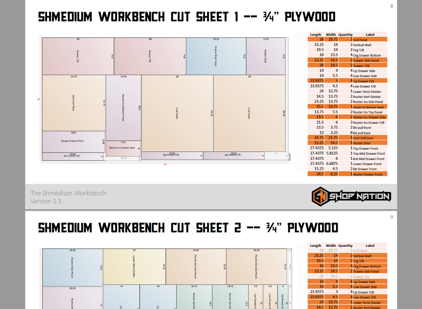 Shmedium Plans Cutsheet