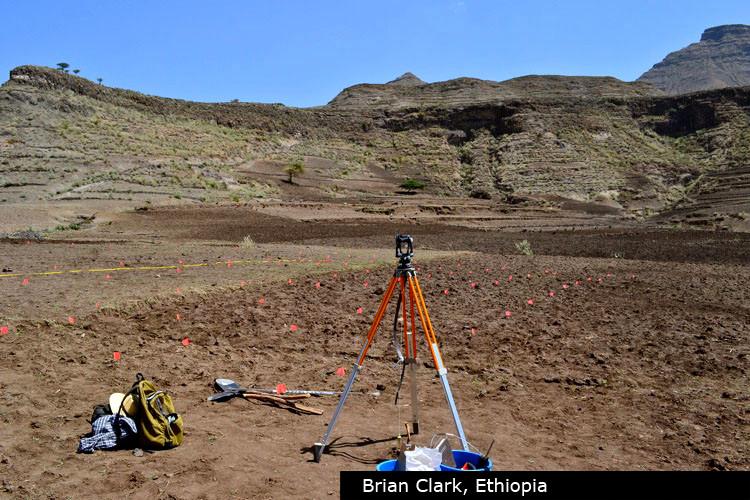 Surveying ploughed fields near Gännätä Maryam, Brian Clark, 2012