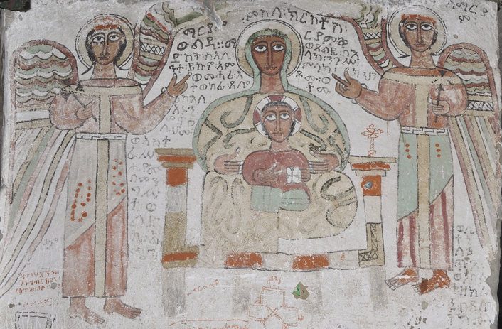 Madonna and Child flanked by archangels, wall painting in Wašša Mika'el church, c. 1270