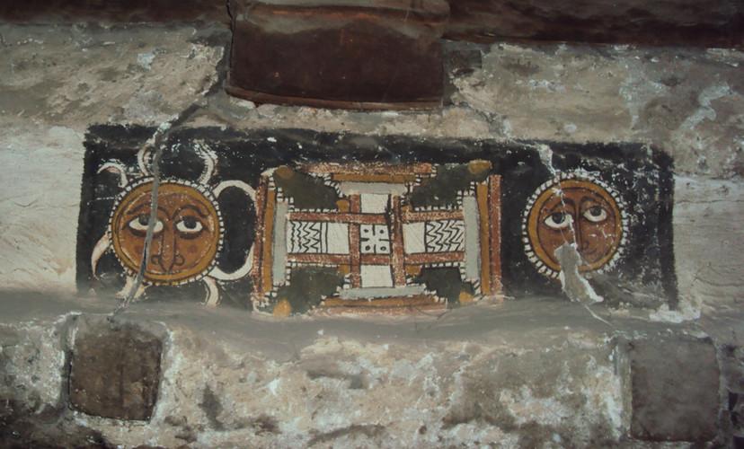 The Sun and Moon flanking the Cross, wall painting above the nave door in Ǝmäkina Mädḫane 'Aläm