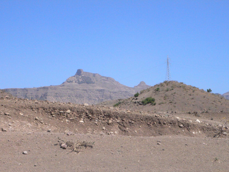 Eroded bank of a wadi near Gännätä Maryam village, with Mount Abunä Yosef in the background