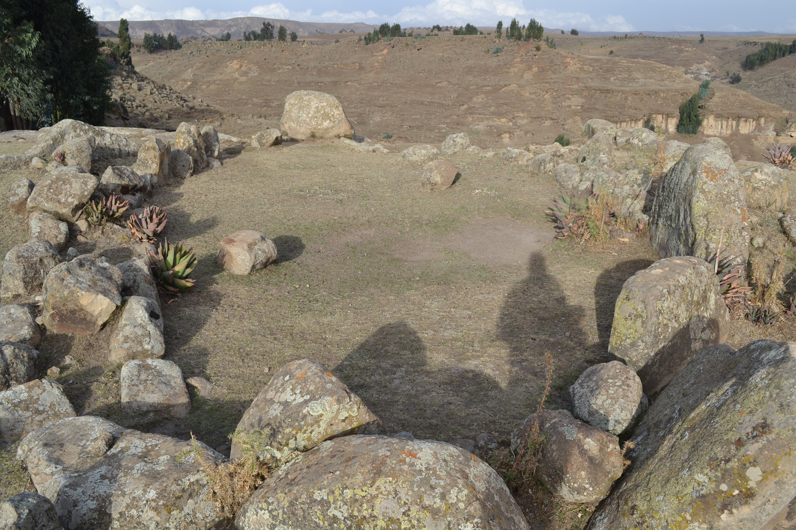 Aligned stones claimed to be the remains of the 'palace' of Mäḥariw Amlak, Yǝkunno Amlak's grandfather, on a hill north of the church