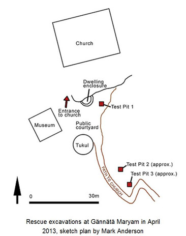 Sketch plan of the rescue excavations at Gännätä Maryam in April 2013