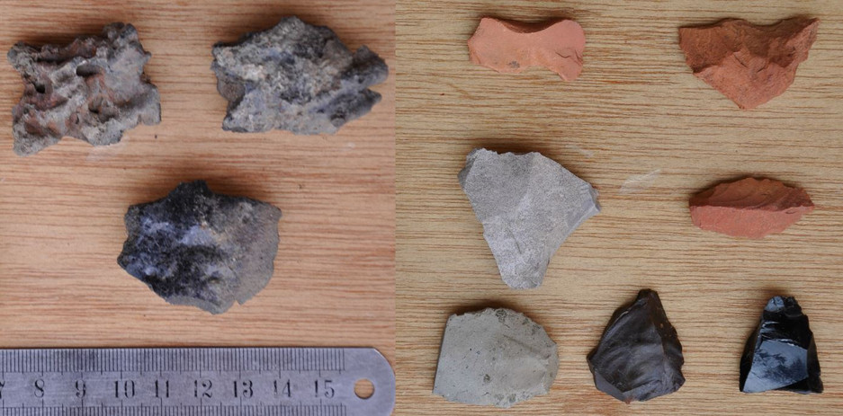 Artefacts collected on the surface near Gännätä Maryam: left: iron slag and vitrified pottery from a smelting site, right: obsidian and other flaked stone tools, all to scale.