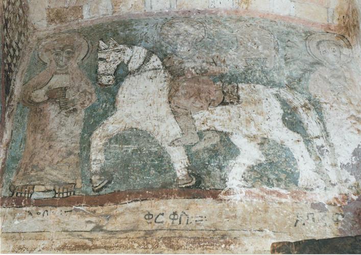 The child martyr Saint Cyricus (Qirqos in Gǝ'ǝz, Č̣ärqos in Amharic) depicted on horseback