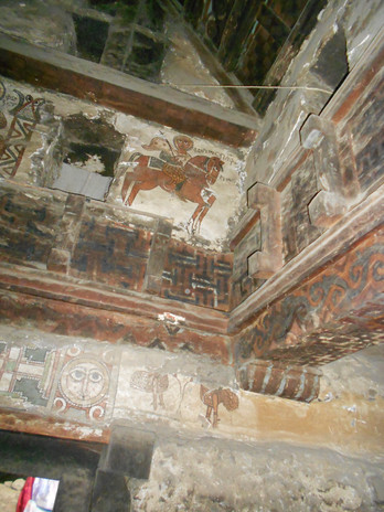 The wall paintings inside the church resemble those in Gännätä Maryam