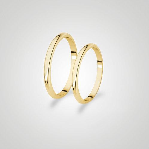 Aros de matrimonio media caña 2 mm
