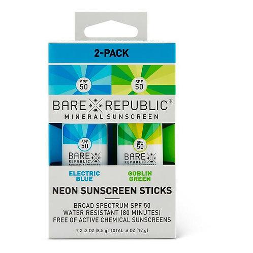 Mineral SPF 50 Neon Sunscreen Stick 2-Pack - Blue, Green