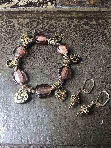 Golden Heart Bracelet &  Earrings