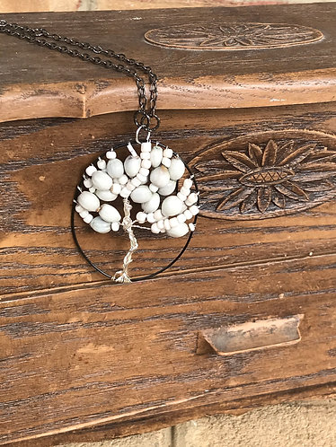Quirky White Tree of Life Necklace