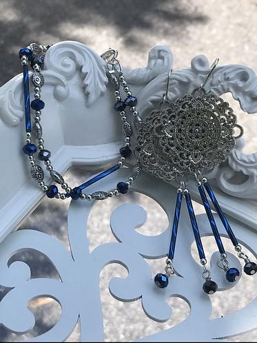 Blue Glass Bracelet & Earrings Set