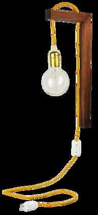 Pol Walnut Beam Wall Light Lampe applique bois câble tissu