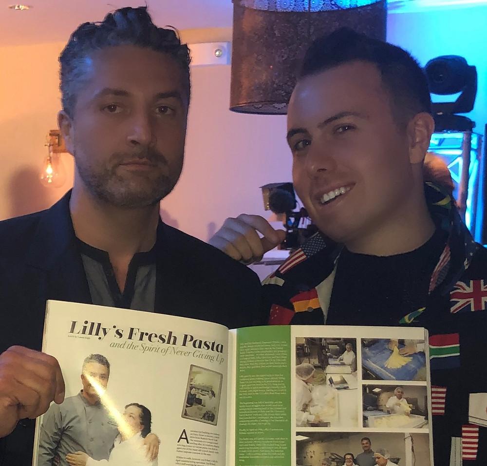 Antonio D'Alelio of Lilly's Fresh Pasta and Derek Zagami Pose with Original Living Magazine