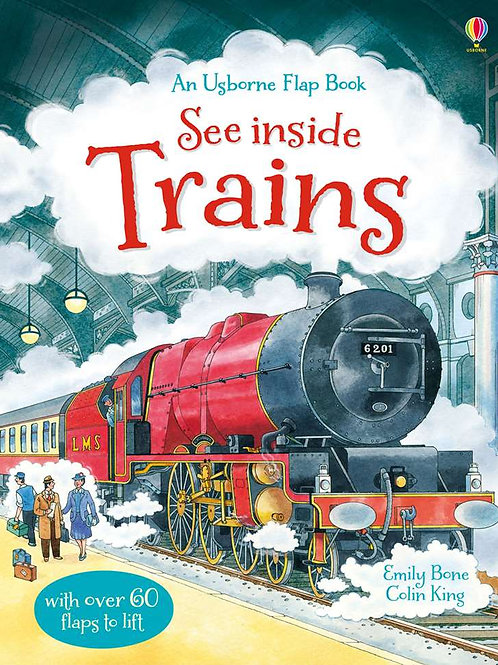 "An Usborne Flap Book  - ""See Inside Trains"""