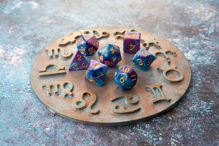 Horoscope circle with divination dice. Fortune telling and astrology predictions..jpg