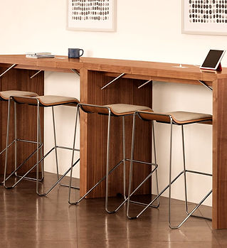 workplace furniture, bar seating, small meeting area