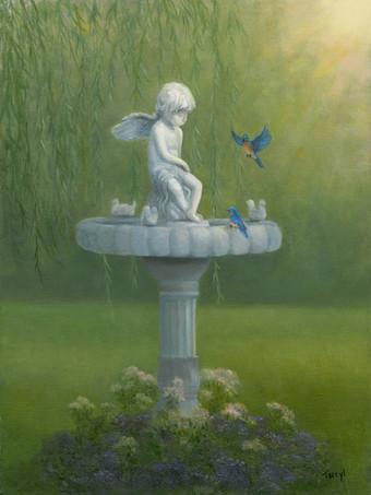 Cherub Fountain with Bluebirds