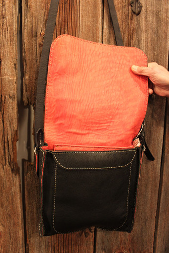 Black, Red Leather-Lined Messenger
