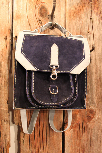 """Small Blue and Gray """"Backpack"""""""