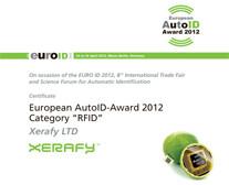 Xerafy Distinguished With 2012 European Auto ID Award In Berlin