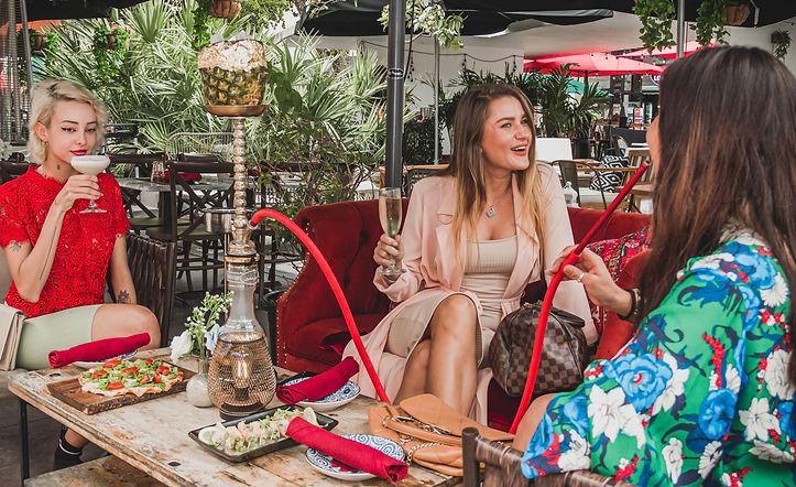 Girls smoking hookah