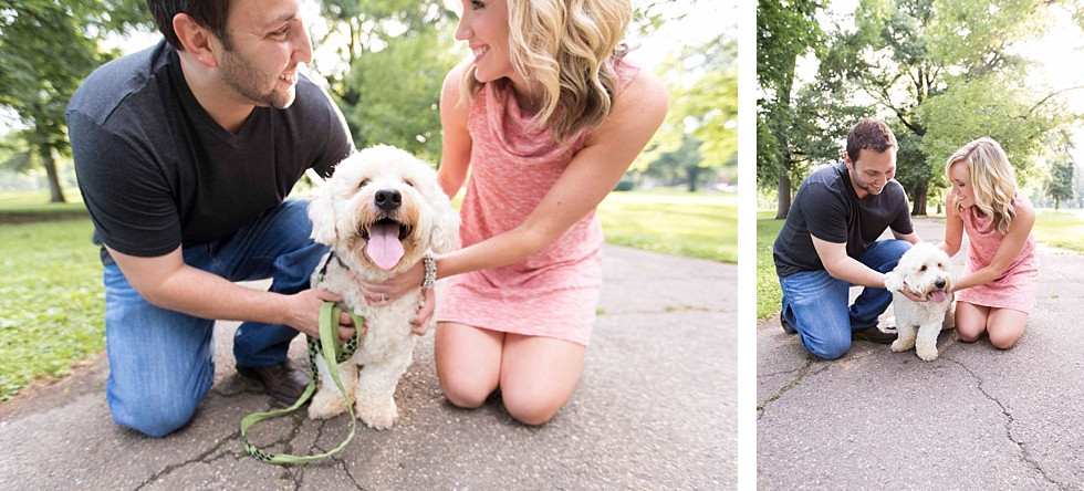 Engagement Session on the Northside of Pittsburgh where cute couple brought their puppy