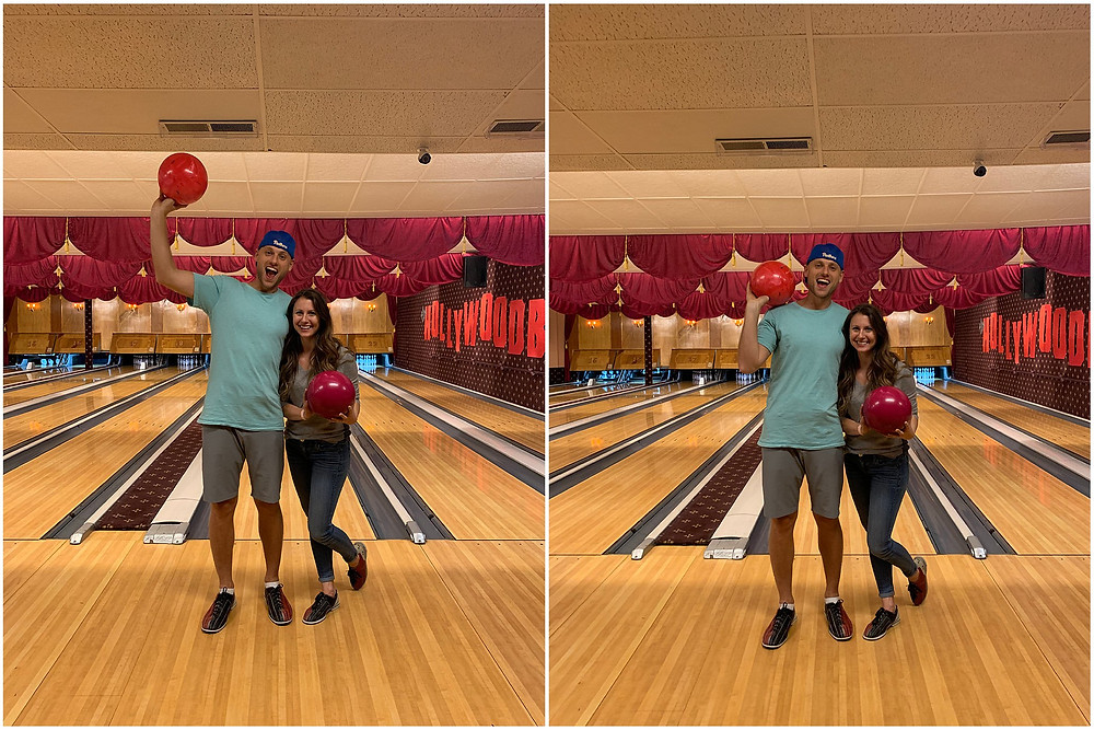 young couple bowling at arsenal bowling alley in lawrenceville in pittsburgh PA