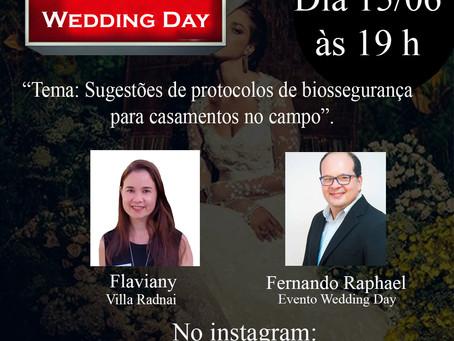 """Fernando & Flaviany com a Live: """"Sugestões de protocolos de biossegurança para casamentos no campo""""."""