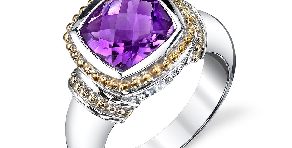 Two Tone Amethyst Ring
