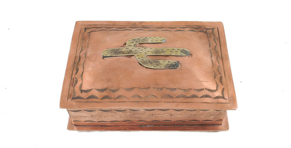 J. Alexander Stamped Copper Box with Silver Cactus Icon