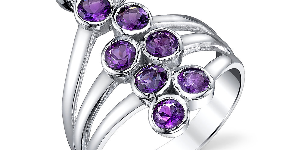 Amethyst 9 stone ring set in Sterling Silver