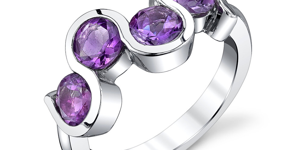 4-Stone Amethyst Ring in Sterling Silver