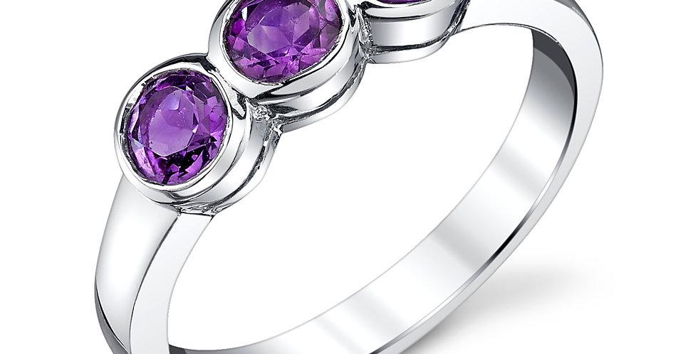 3-stone Amethyst Ring in Sterling Silver