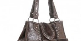Trinity Ranch Cowhide Collection Handbag-Coffee