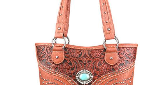 Trinity Ranch Tooled Design Handbag-Brown