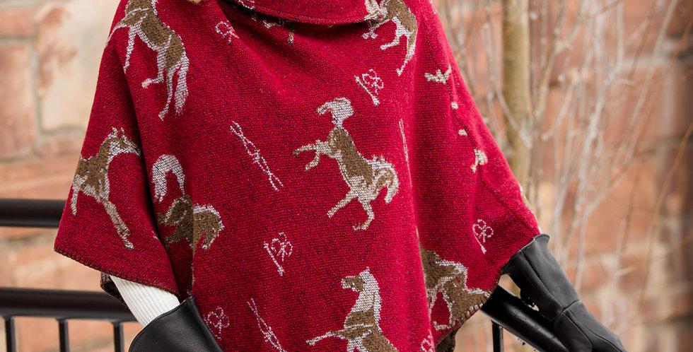 "Red Horse Brands 30"" Button Collar V-Poncho - Rhonda Stark"