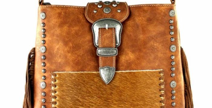 Trinity Ranch Tooled Hair-On Leather Concealed Handgun Collection Handbag