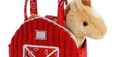 Red Barn Purse with Plush Horse