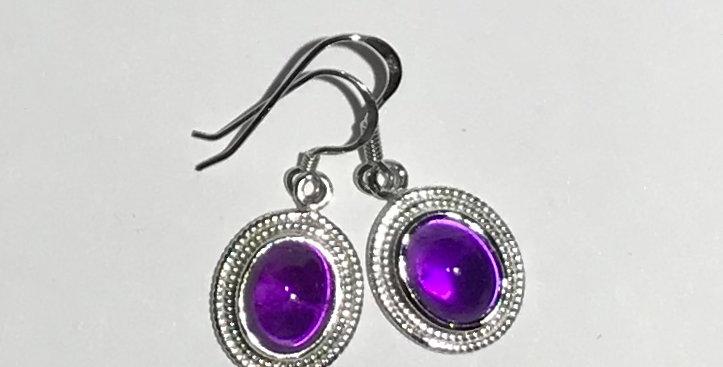 Pair of Amethyst Cabochon Cut Earrings