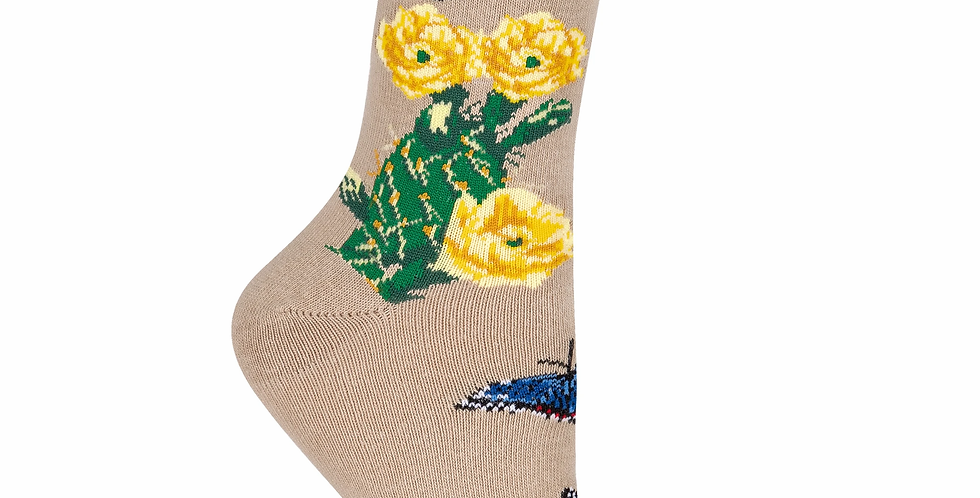 Cactus Flower Design Crew Sock