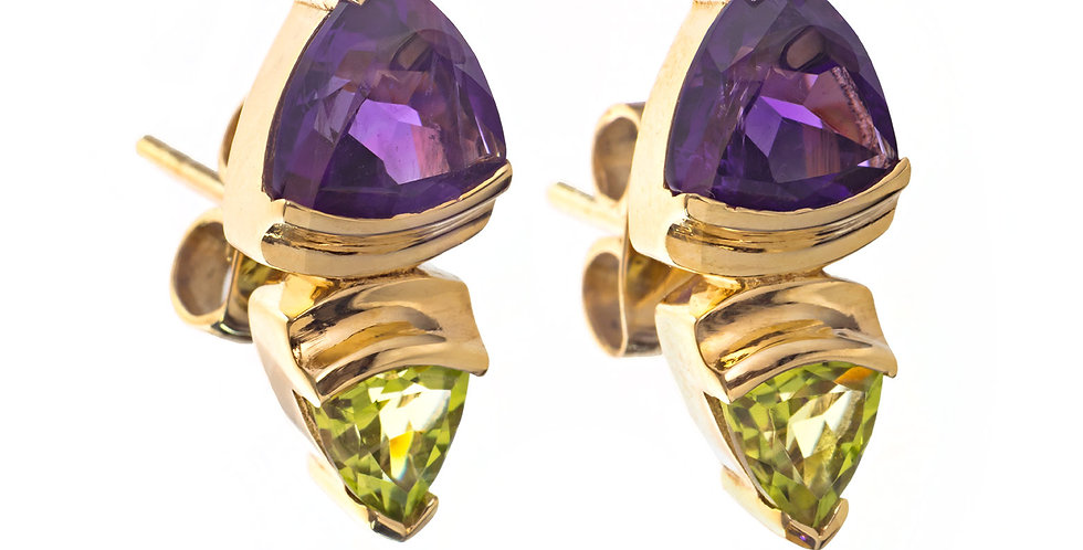 Four Peaks 14K Yellow Gold Amethyst and Peridot Earrings