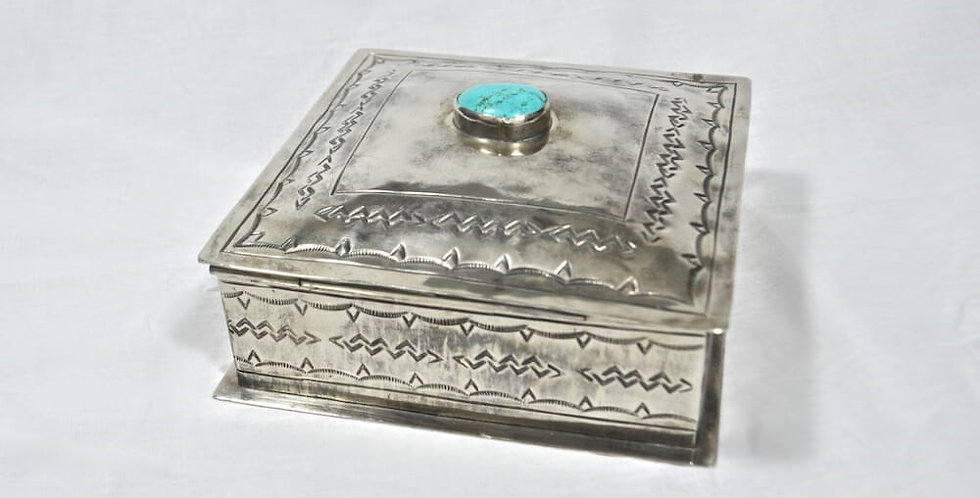 J. Alexander Stamped Silver Box with one Turquoise Stone