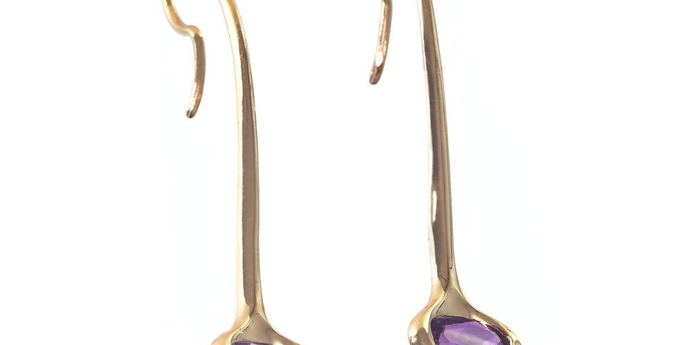 Four Peaks Arizona Amethyst 14K gold dangle earrings